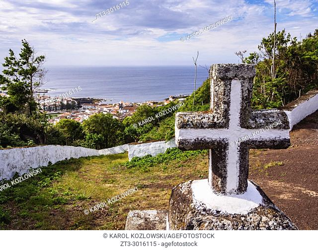 View towards Santa Cruz from Monte de Nossa Senhora da Ajuda, Graciosa Island, Azores, Portugal