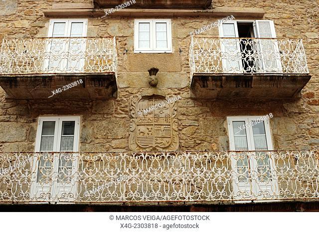 Facade and coat of arms. Camariñas, Galicia, Spain