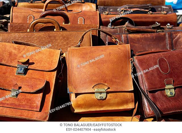 leathergoods leather bags in a row from Morocco Africa in outdoor market
