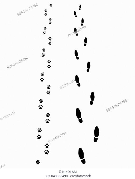 Black footprints of man and dog on a white background