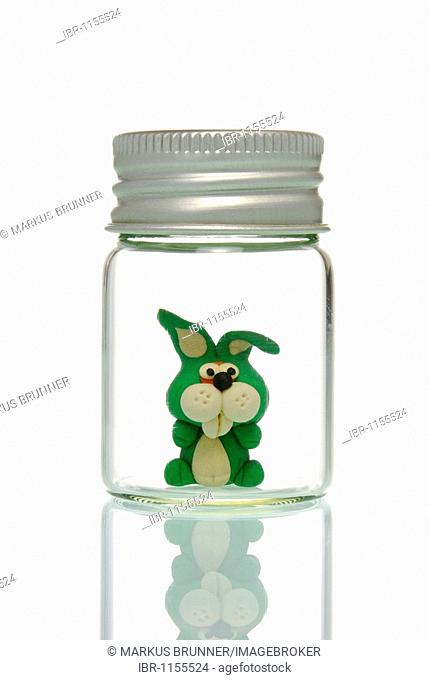 Little rabbit in glass, symbolic of animal experiments
