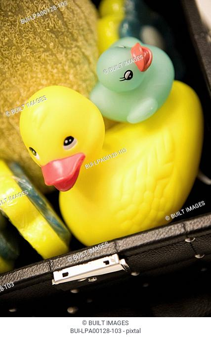 Detail small and big rubber duckies