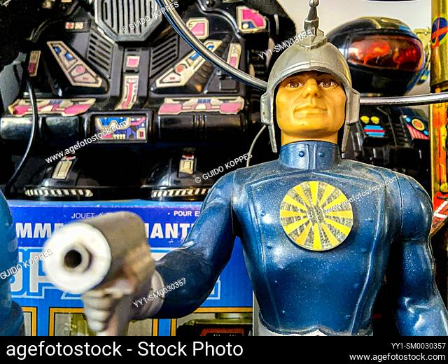 Schiedam, Netherlands. Action Figure Doll on a Man's Shelf, part of his Collection