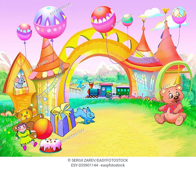 Digital Painting, Illustration of a Colorful Fairy Tale Arch in a Childhood Road. Cartoon Style Artwork Scene, Story Background, Card Design