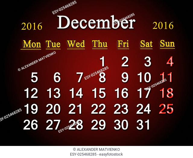 beautiful claret calendar on December of 2016. Calendar for printing and using in office life