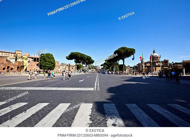 People on street with buildings in background, Rome, Lazio, Italy