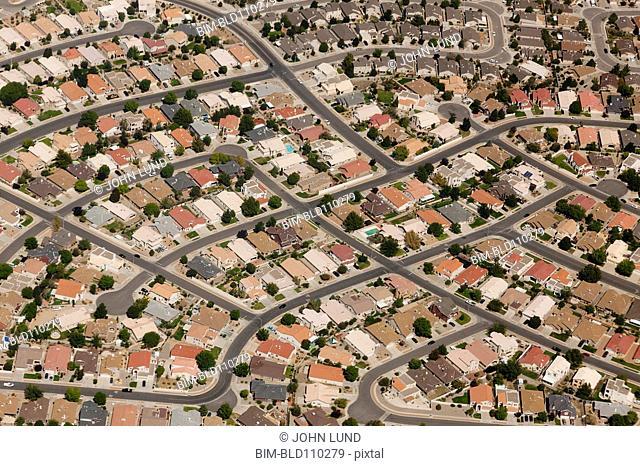 Aerial view of suburban neighborhoods