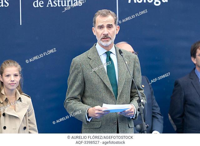 19.10.2019. Asturias, Spain. The SS: AA: RR: The Princess of Asturias, Princess Leonor and the Infanta Sofia visit Asiego. Exemplary Award 2019