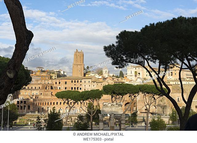 Ancient Rome city skyline with Trajan's Forum. Rome. Lazio. Italy
