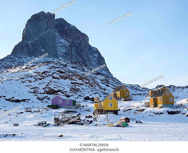 The fishing village Ikerasak during winter in the Uummannaq fjordsystem north of the polar circle. America, North America, Greenland, Denmark
