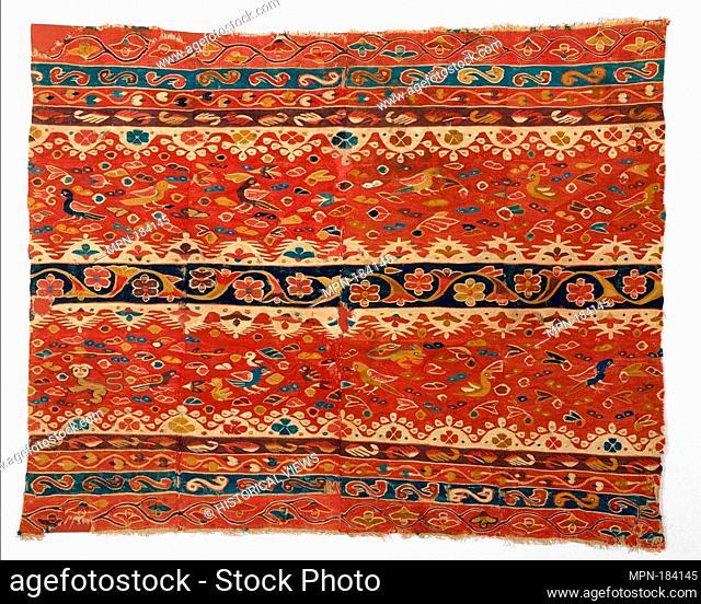 Woman's Mantle (lliclla). Date: 17th-18th century; Geography: Peru; Culture: Peruvian; Medium: Camelid hair; Dimensions: H. 35 1/2 x W. 43 3/8 in. (90