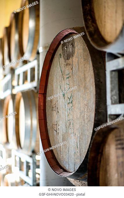Wood Wine Casks in Winery