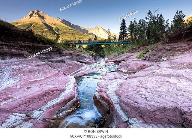 Bridge over Red Rock Canyon in Waterton Lakes National Park, Alberta, Canada