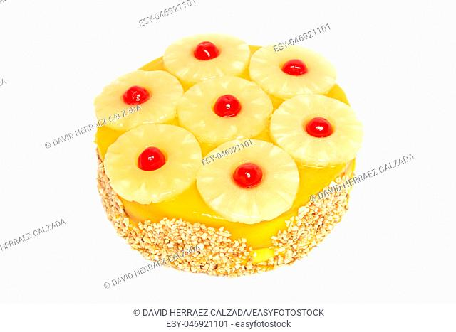 Delicious pineapple cake isolated on white background