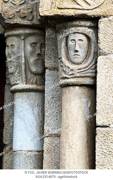 Details of the capitals of the Romanesque church of Sant Peir - Escunhau - Valle de Aran - Pyrenees - Lleida Province - Catalonia - Spain