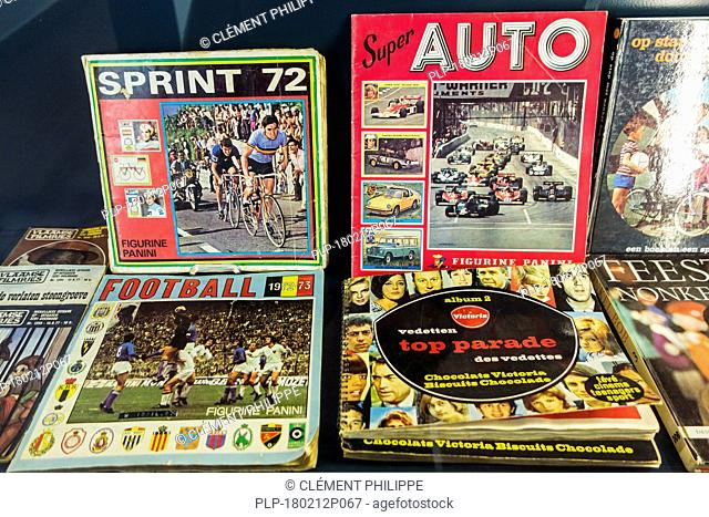 Vintage Panini sticker albums from the seventies about football / soccer, cycling and cars