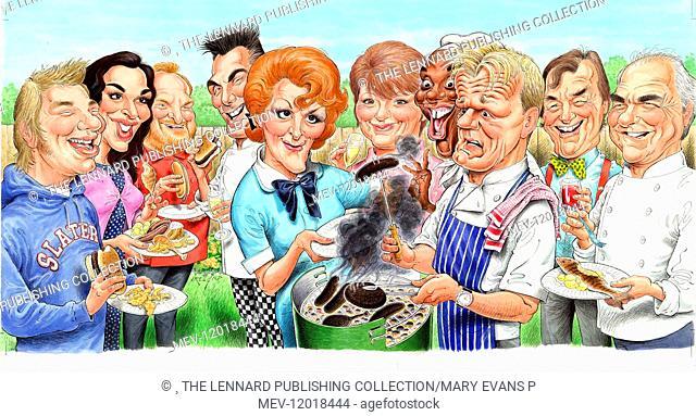 Jamie Oliver, Nigella Lawson, Antony Worrall Thompson, Gary Rhodes, Fanny Craddock, Delia Smith, Ainsley Harriott, Gordon Ramsey, Keith Floyd