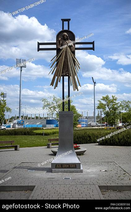 Newly erected statue, Cross of Merciful Jesus to commemorate the visit in Plock, Poland on 03/06/2021 Jean Paul II visited PÅ'ock