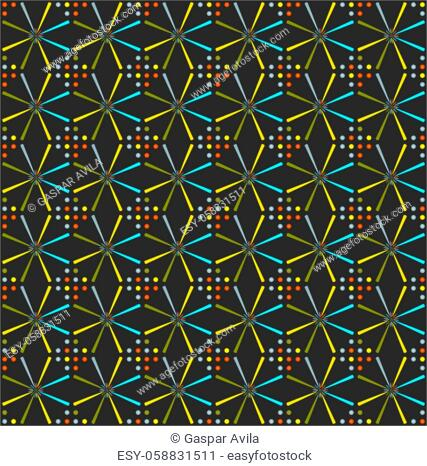 Stars and dots pattern on a dark grey background