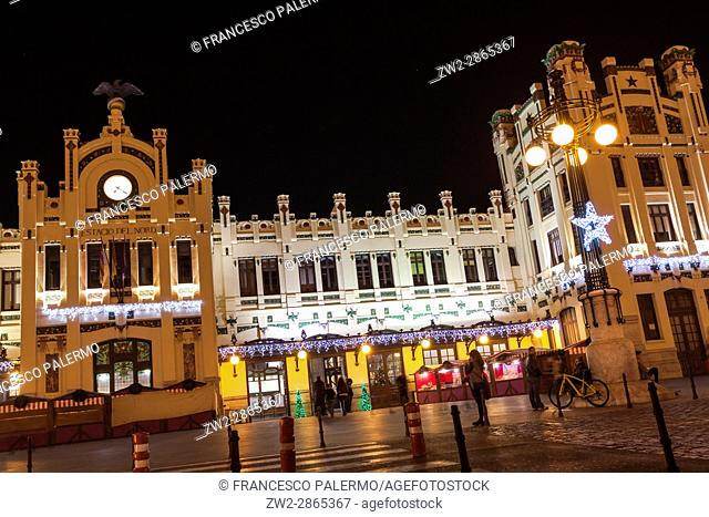 Facade of north station railways at night. Valencia, Spain