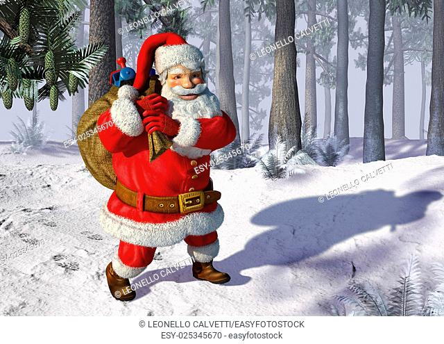 Illustration of Santa Claus walking on snow, with trees in the background