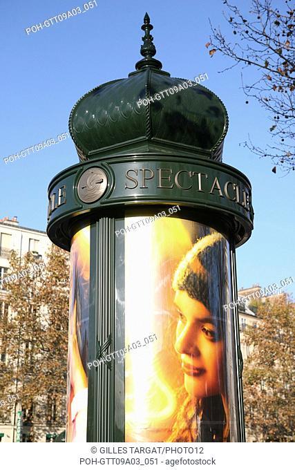 tourism, France, 4th arrondissement of paris, place de la bastille, morris column, advertising column, poster for a show Photo Gilles Targat