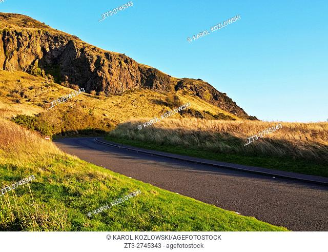 UK, Scotland, Lothian, Edinburgh, Holyrood Park, View towards the Arthur's Seat.