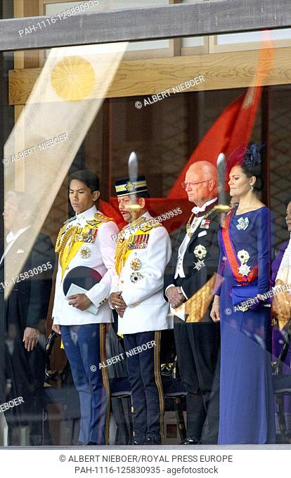 Sultan and Crown Prince of Brunei, King Carl Gustaf and Crown Princess Victoria of Sweden at the Imperial Palace in Tokyo, on October 22, 2019