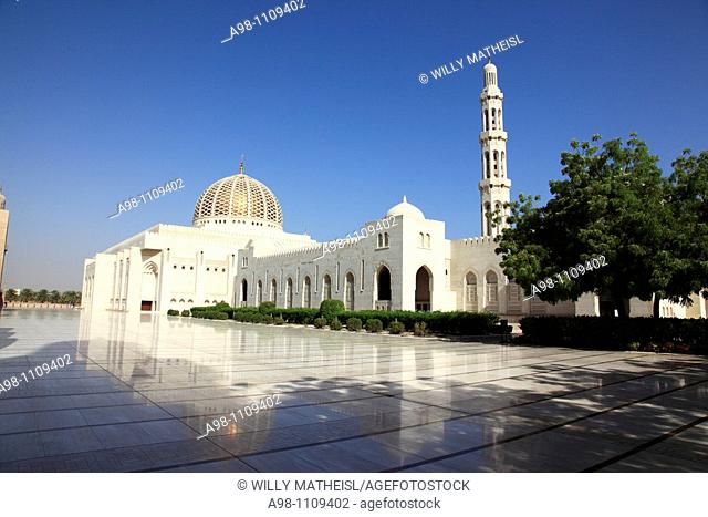 outside view  of Grand Mosque Sultan Qaboos, Muscat, Sultanat of Oman, Asia