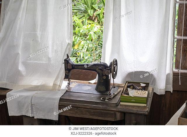 Captain Cook, Hawaii - A sewing machine at the Uchida Farmhouse at the Kona Coffee Living History Farm. Japanese immigrant Daisaku Uchida and his family...