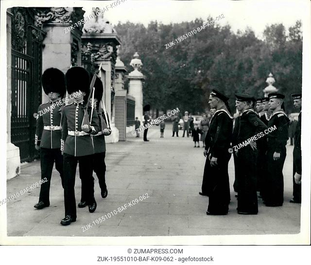 Oct. 10, 1955 - Soviet Sailors Sight-Seeing In London. Photo shows Some of the Soviet Sailors who are on a goodwill visit to Britain - seen as they watched the...