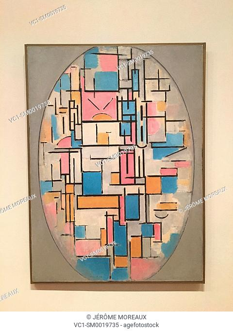 Composition in Oval with Color Planes 1, 1914, by Piet Mondrian Dutch, 1872-1944, Oil on canvas, MOMA, Museum of Modern Art, New York City