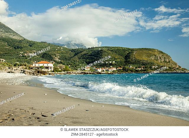 Spring afternoon on the coast of Mani Peninsula, Peloponnese, Greece. Ionian Sea