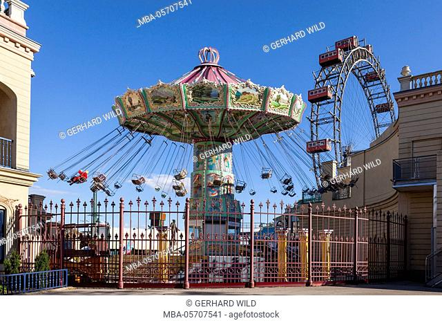 carrousel and big wheel, Prater, 2nd area, Vienna, Austria, Europe