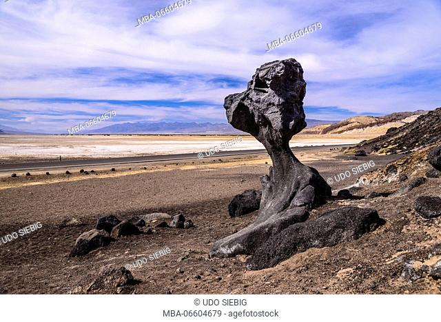 The USA, California, Death Valley National Park, Hoodoo in the Bad Water Road close Golden canyon