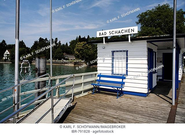 Waiting hut, boat station, Bad Schachen, Lake Constance, Baden-Wuerttemberg, Germany, Europe