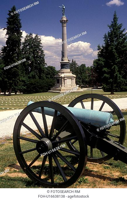 Gettysburg, battlefield, cannon, battle, cemetery, Pennsylvania, Cannon near the New York State Monument in Gettysburg National Cemetery at Gettysburg National...