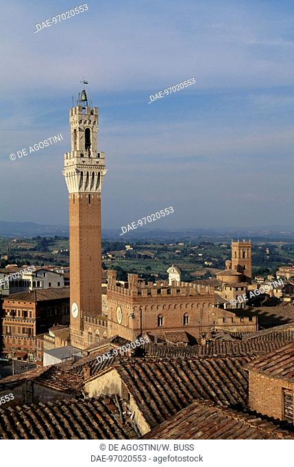 View of Mangia tower, historic centre of Siena (UNESCO World Heritage List, 1995), Tuscany. Italy, 14th century