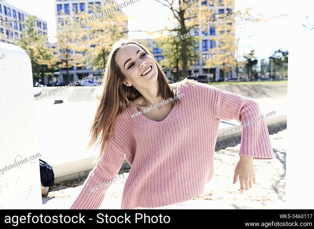 Young woman in playground. Munich, Germany