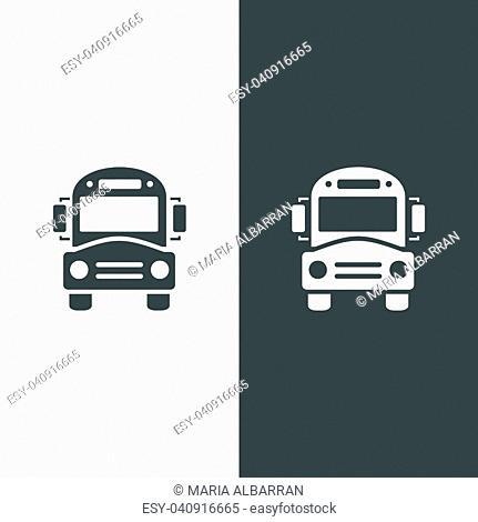 Bus school icon on dark and white background