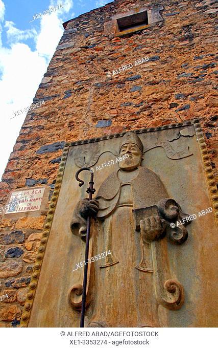 religious sculpture in the main square, Sant Martí de Llémena, Girona, Catalonia, Spain