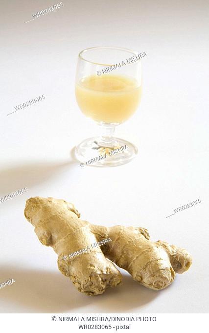 Spices , ginger Juice , adrak ka rus zingiber officiale , India