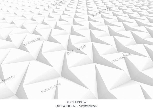 White three pointed star background, 3d render abstract pattern elevated view, close up
