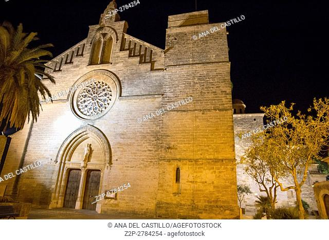 Alcudia walled village in Majorca island in Spain Nightscape. Sant Jaume church by night
