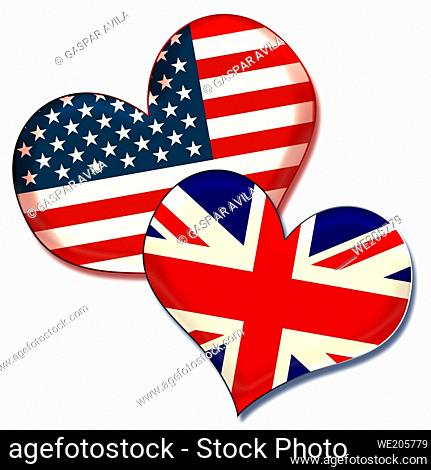 USA and UK hearts. Graphic design about the friendship and ties between these countries
