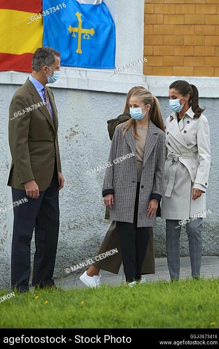 King Felipe VI of Spain, Queen Letizia of Spain, Crown Princess Leonor, Princess Sofia visit Somao, exemplary village during Princess of Asturias Awards 2020 on...