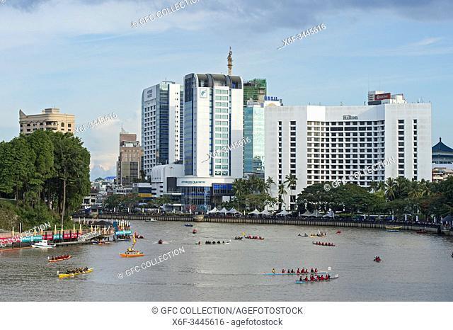 Kuching Waterfront at Sarawak river during Sarawak Regatta, Kuching, Sarawak, Borneo, Malaysia