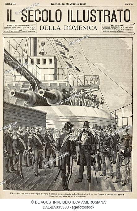 Meeting between Vice Admiral Lovera di Maria and the French President Marie Francois Sadi Carnot on board the ship Italia, drawing by A Bonamore