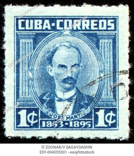 CUBA - CIRCA 1953: post stamp printed in Cuba shows portrait of poet and revolutionary Jose Marti 1853-1895