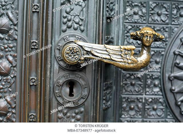 decorated door handle, doorknob, entrance portal west facade of Cologne Cathedral, Cologne, North Rhine-Westphalia, Germany